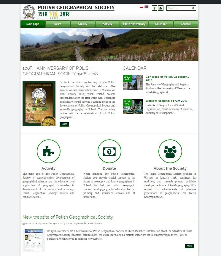 Strona internetowa Polskiego Towarzystwa Geograficznego w języku angielskim
