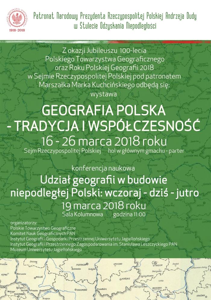 Plakat wystawy i konferencji w Sejmie RP z okazji 100-lecia PTG